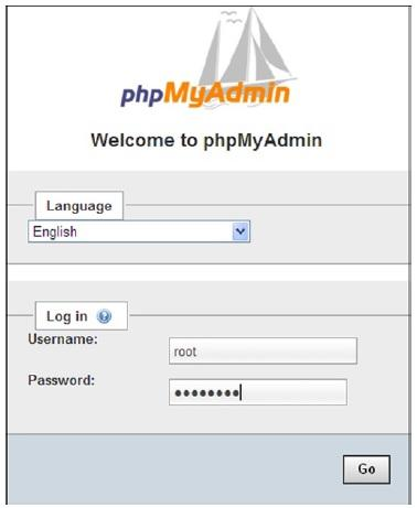 Enter the password in the dialog box to access phpMyAdmin