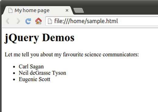 The sample HTML page