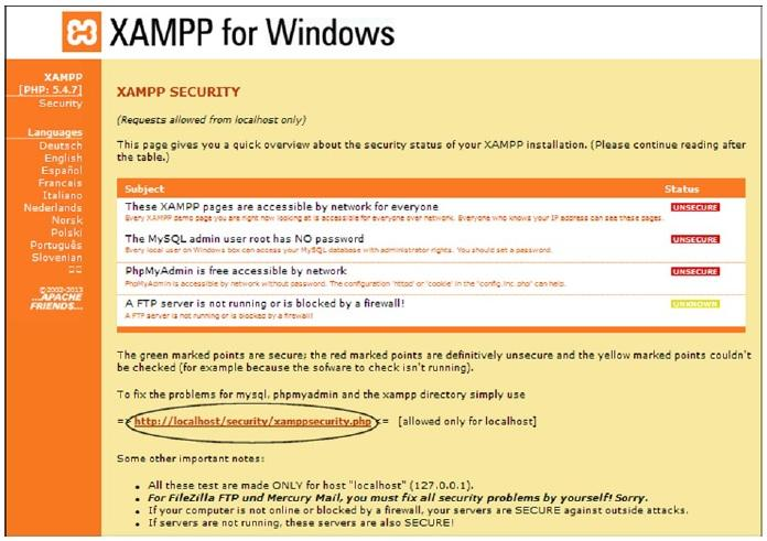The XAMPP Security Console