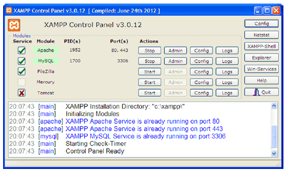 Install and use XAMPP tool on local host: php, mysql, apache