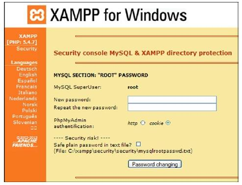 The XAMPP form for entering a password