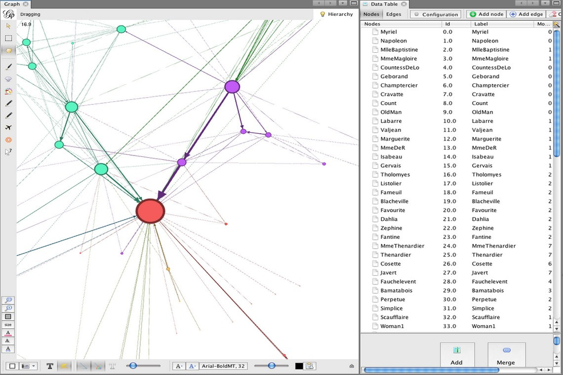 Gephi - application for graph data visualizations