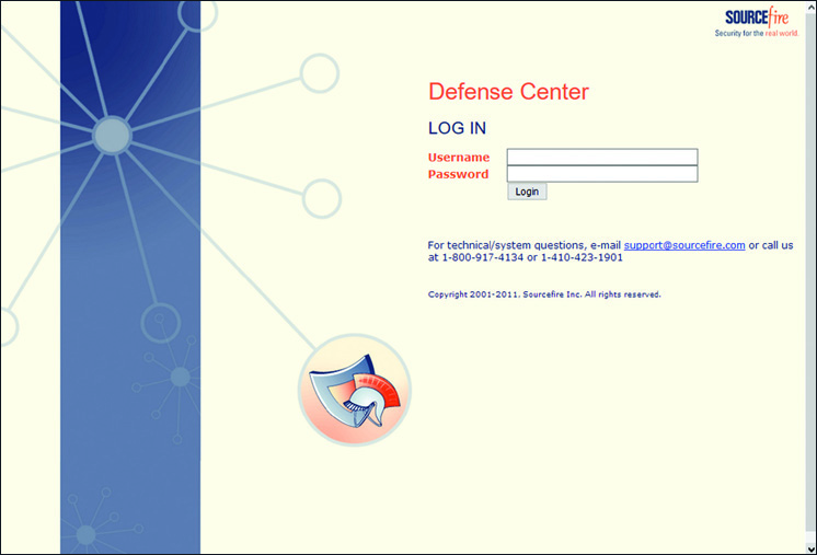 Login Page for Defense Center