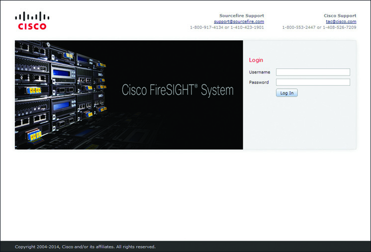 Login Page for FireSIGHT Management Center