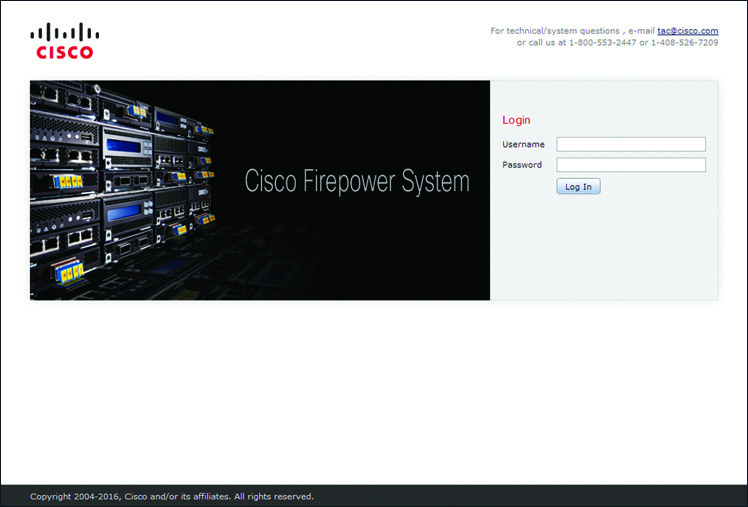 Login Page for Firepower Management Center Running Version 6.x