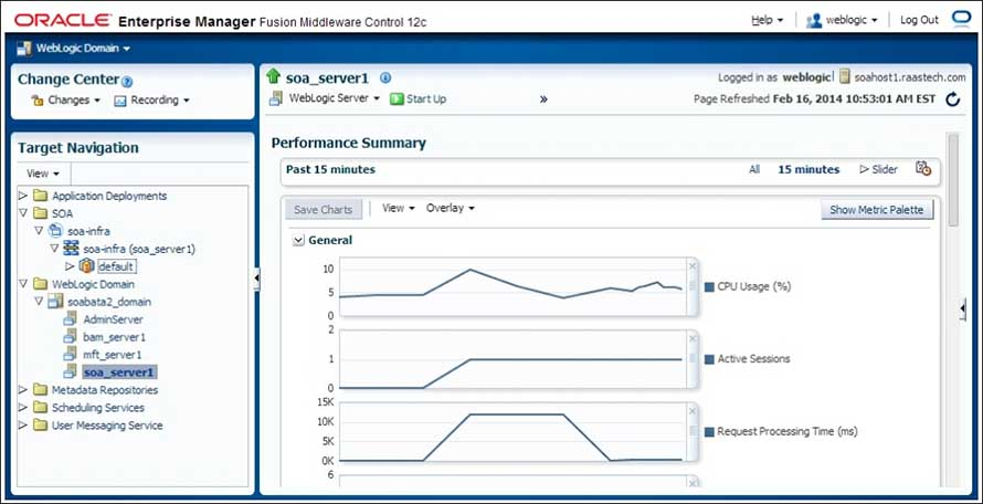 performance snapshots using Oracle Enterprise Manager Fusion Middleware Control