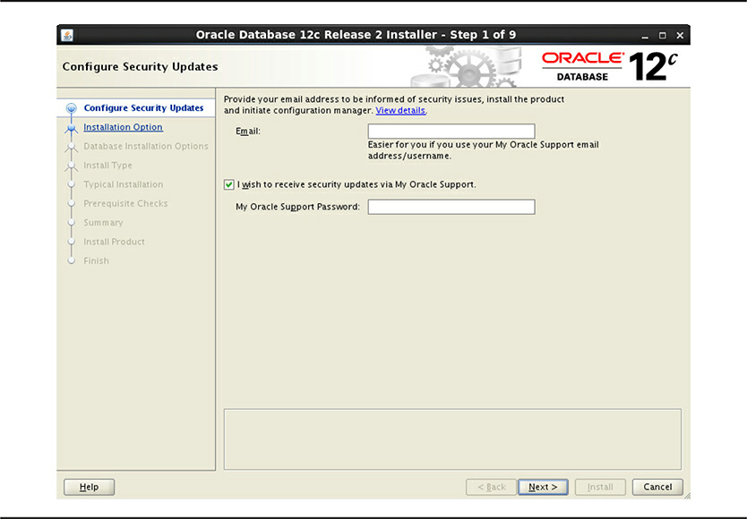 Configure Security Updates screen - RAC Install