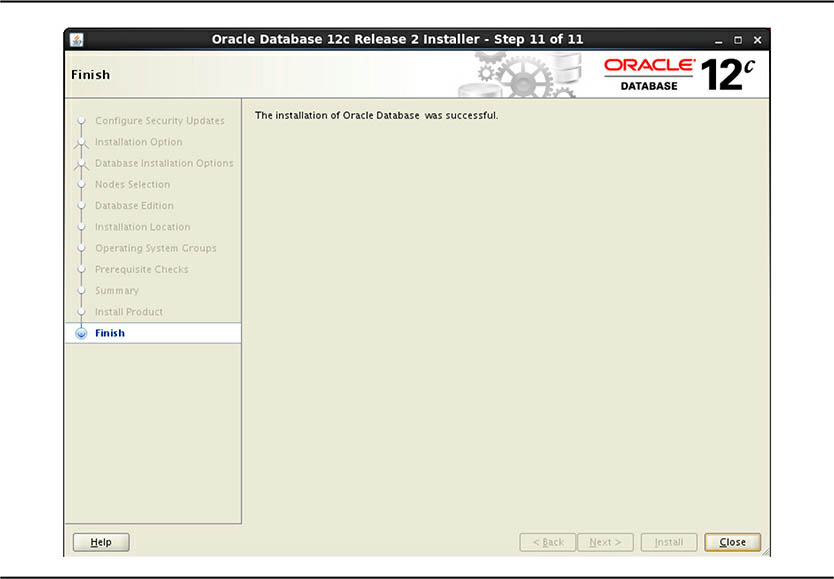 Oracle RAC 12C Installation Finish screen