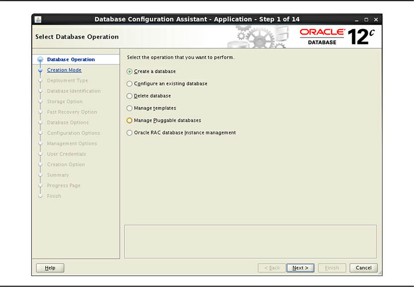 Select Database Operation screen for Oracle RAC