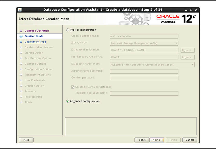 Select Oracle Database Creation Mode screen