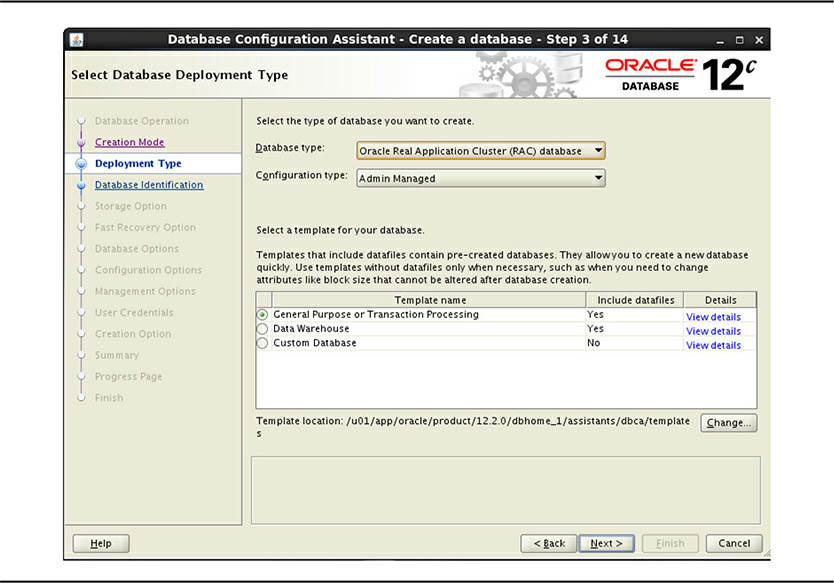 The Select Database Deployment Type screen