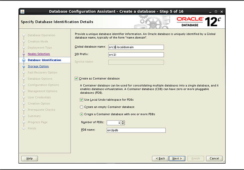 Specify Database Identification Details screen
