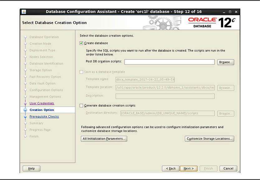 Select Database Creation Option screen
