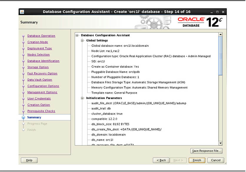 Oracle Database creating for RAC Summary screen