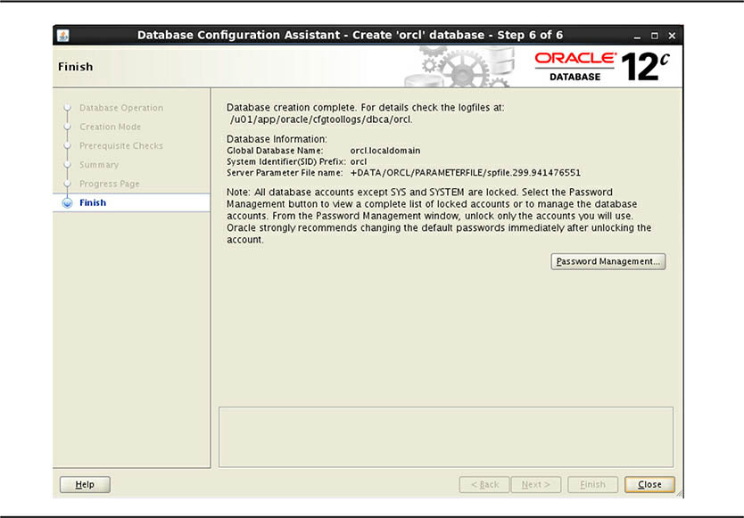 Finish screen - Oracle RAC installation