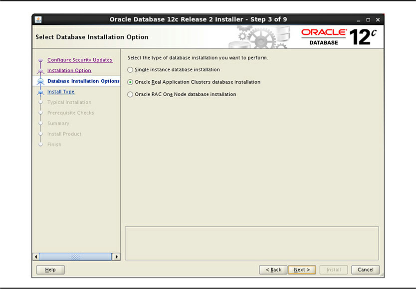 Select Database Installation Option screen