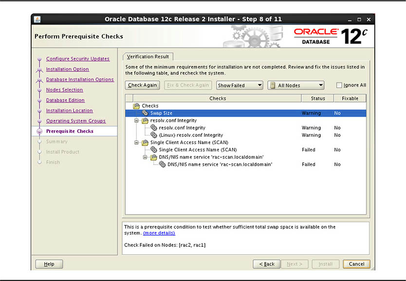 Oracle Rac Install Perform Prerequisite Checks screen