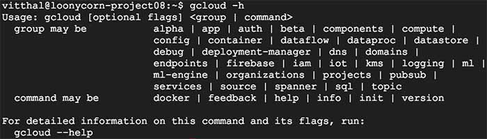gcloud config list command using