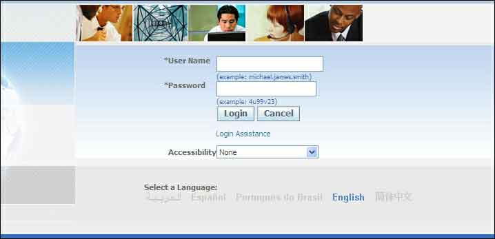 login page for Oracle applications