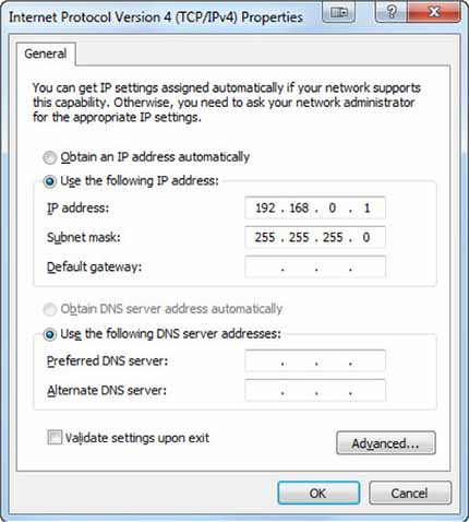 Static IP configuration in Windows