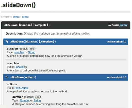 jQuery documentation for slideDown()