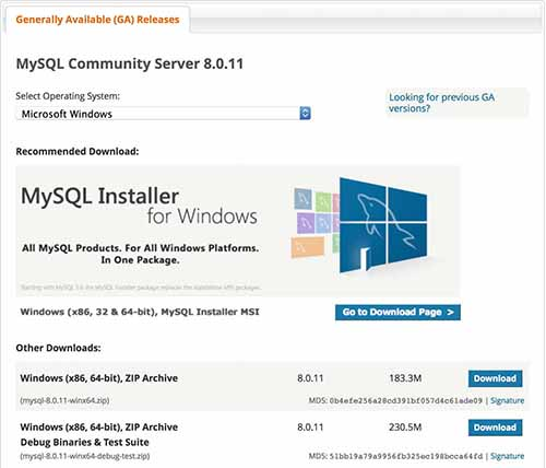 MySQL Download page for Windows Installer
