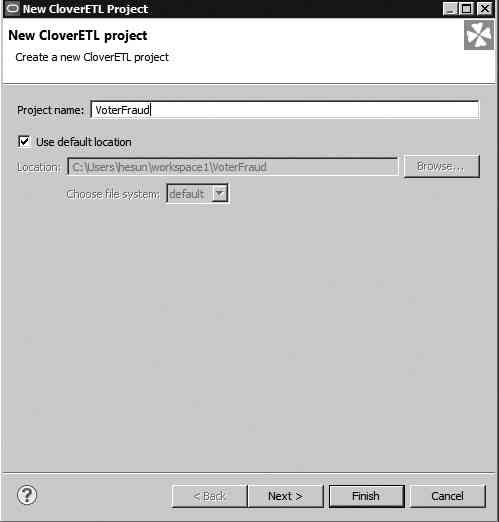 Creating a new CloverETL project