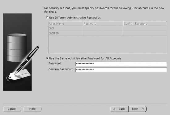 The Administrative Passwords screen