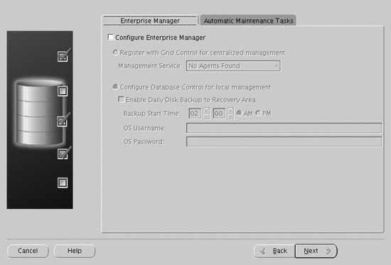 The Management Options screen