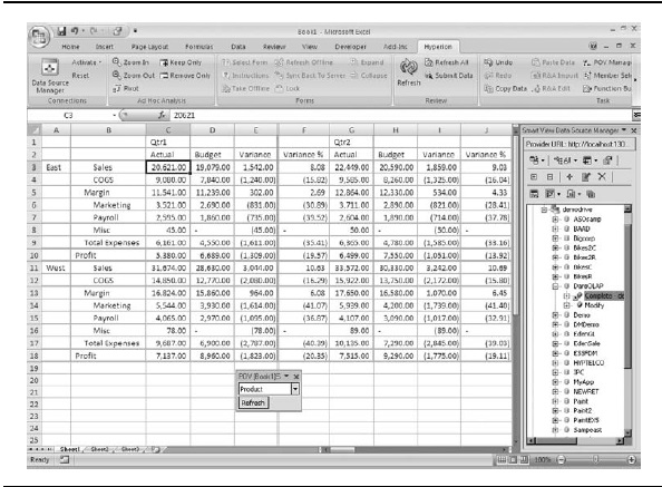 An ad hoc spreadsheet report